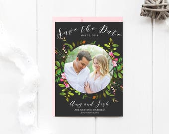 Save The Date Printable, Floral Save The Date, Floral Wedding Card, Photo Save the Date, Watercolor Flowers, Boho Wedding, Garden Wedding