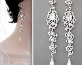 Pearl chandelier earrings, Long crystal earrings, Pearl wedding earrings, Brides statement earrings, Long pearl and crystal earrings,  BRI