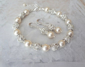 Pearl jewelry set, Swarovski pearl and crystal jewelry set, Brides pearl set, Wedding jewelry set bracelet, Bridal jewelry set, FROSTED