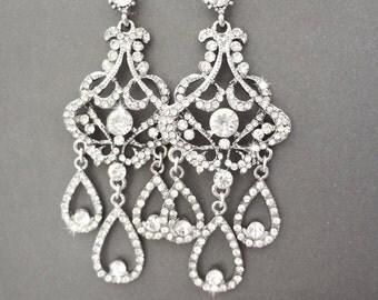 Long Chandelier earrings, Crystal chandelier earrings, Brides earrings, Vintage style wedding earrings, Art deco earrings ~ STUNNING ~ EVA