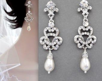 Pearl earrings, Brides earrings, Swarovski pearl earrings, Crystal earrings, Art deco earrings, Wedding earrings, ANGELINA