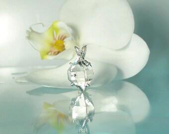 Raw Crystal Jewelry, Raw Crystal Pendant, Raw Crystal Silver Jewelry, Herkimer Diamond, Raw Quartz Pendant, Raw Quartz Jewelry, Herkimer