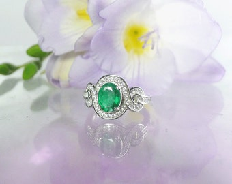 Emerald Ring, Emerald Silver Ring, Emerald Sterling Ring, Natural Emerald Ring, May Birthstone Ring, May Birthstone, Large Emerald Ring