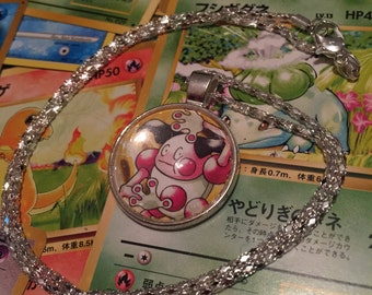 Mr. Mime Pokemon Necklace - Silver Pendant 1 inch With 20 inch chain