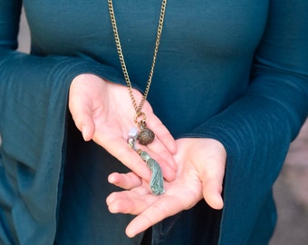Long Bronze Necklace with Tassel and Locket
