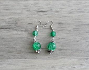 15% Code - MAR15OFF - Vintage 80's Emerald Bubbles Beaded Earrings