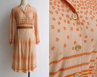Vintage 80's Retro Op Art Squares & Stripes Orange Shirt Waist Dress S or M
