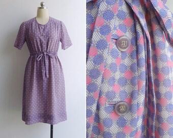 Vintage 70's 'Sweet Pastilles' Geometric Print Drawstring Waist Dress M or L