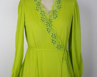 Miss Elaine Bright Lime Long Robe - Small