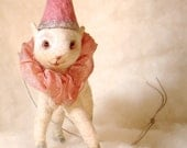 Spun cotton baby lamb a Christmas feather tree vintage craft OOAK ornament by jejeMae