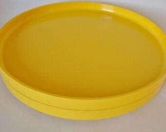 "Pair of Vintage HELLER Melamine Yellow Dinner Plates 10"""