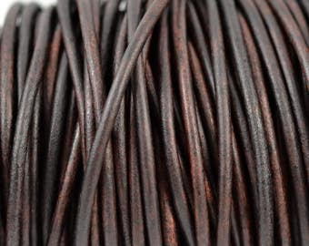 3mm Natural Antique Brown Leather Round Cord - Distressed Matte Finish