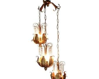 Vintage Italian Chandelier, Gilt Tole Lotus Swag Lamp, Hollywood Regency