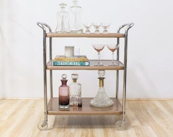 Mid Century Bar Cart, Copper / Rose Gold / Chrome Industrial Vintage