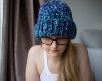 Ocean Galaxy Chunky Crochet Hat // 100% Merino