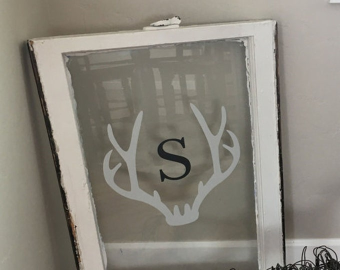 Antler Framed Monogram Wall Decal