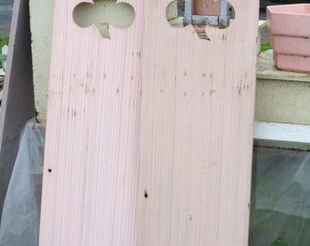 Vintage Architectural Shutters Old Pink Paint Shamrock or Clover Cut Outs Farmhouse Chic