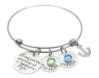 Sons Are The Anchors of a Mother's Life - Personalized  Bracelet - Expandable Wire Bangle - Hand Stamped Jewelry - Mommy Charm Bracelet
