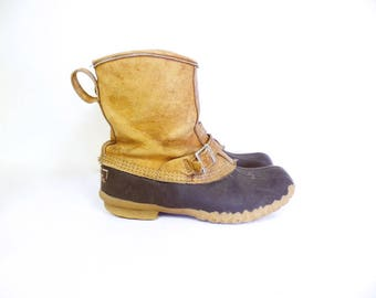 Vintage LL Bean Duck Boots // Womens Size 9 // Maine Hunting Strap and Buckle Boots Lounger