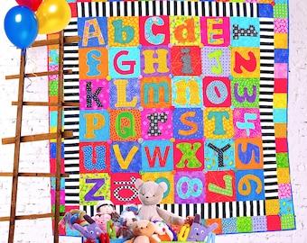 Scrappy Alphabet | Quilt Patterns | PDF Pattern | ABC Quilt | Alphabet | Applique Quilts | Happy Quilts | Kids Quilts