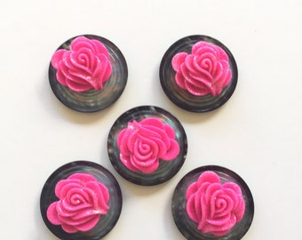 Only 1! Pink Rose Magnets, Pink Rose Pushpins, Glitter, OOAK
