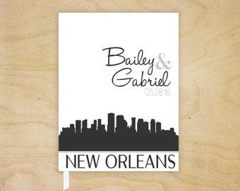 City Skyline Guest Book, Wedding Guest Book, New Orleans Guest Book, Chicago Skyline Bridal Shower Gift, Wedding Shower Reception Guest Book