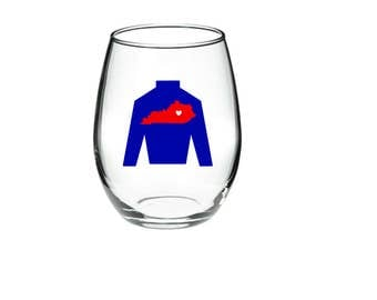 Kentucky derby - Horse Racing Wine Glass - Kentucky Derby Wine Glass - Jockey Sweater 21 Stemless Wine Glass  Any Color Combination