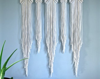 "SALE Large Macrame Wall Hanging - Natural White Cotton Rope 36"" Dowel - Boho Home, Nursery Decor, Wedding Backdrop, Curtain - Ready To Ship"
