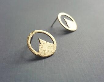 Mountain Studs - Brass Mountain Earrings