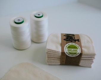 Organic Cloth Wipes - GOTS Flannel Cloth Wipes - Organic Family Wipes - Double Layer (Organic Natural Color Tread Edging)