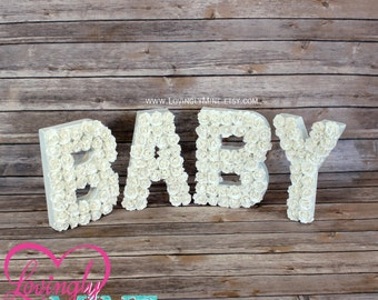 8 inch Tall Baby Letters - White Mini Paper Roses, Paper Mache Letters - Baby Shower Decorations - Additional Colors Available