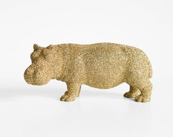 Hippopotamus Safari Gold Glitter Critter for Jungle Baby Showers, Nursery Decor, Great for Wedding Decorations, Birthday Table Centerpieces
