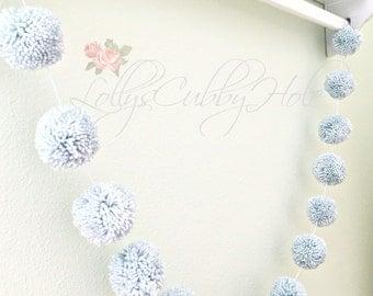Dusty Blue Pom Pom Garland - Yarn Pom Pom Garland - Baby Shower - Nursery Garland - Birthday - Wedding Blue Pom Pom Decoration Made to Order