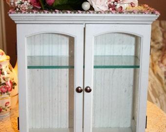 Shabby Cottage Chic Curio Cabinet Embellished Roses Pearls Etched Glass Display Case FREE SHIPPING