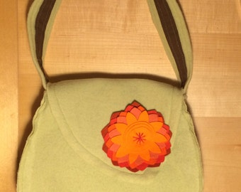 Whimsical Spring Green/Orange flower handbag - wool with cotton lining