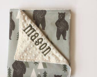 Forest Bear - Build Your Own Blanket - Baby Boy Minky Cotton Stroller Crib woodland camping trees grey brown ivory Embroidered Personalized