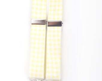 Yellow Gingham Suspenders, yellow check suspenders, yellow suspenders, boy's suspenders, men's suspenders, yellow braces, boys braces