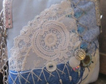 Something Blue Handmade OOAK Art Purse Crazy Quilt Spring Clutch Wedding Purse Bride or Mother Tea Lunch Bag, French Lace Vintage Buttons
