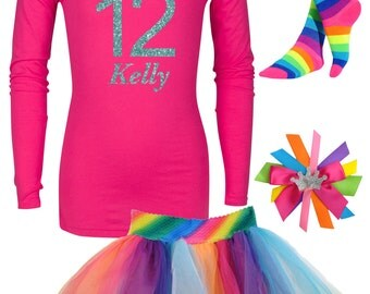 12th Birthday Long Sleeve Shirt Party Rainbow Socks Birthday Tutu Tween Hair Bow Birthday Girl Shirt Personalized Age Name T-Shirt Bling Tee