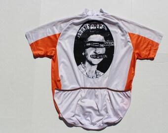 Punk Vintage Cycling top-God Save The Queen-Sex Pistols tshirt-bicycle biking cyclist-shirt sports top- orange white -zip collar-pockets XL