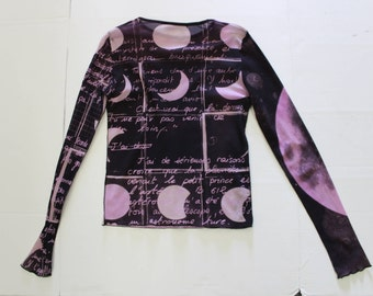 Vintage Designer Mesh Top -Purple Moons Lunar Luna - Text -Moon -Sheer long sleeves  See Through -00s nineties 90s grunge -cop copine S/M