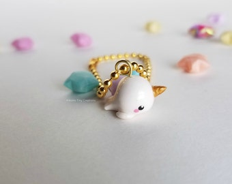 Cute Narwhal Planner Charm- White & Gold