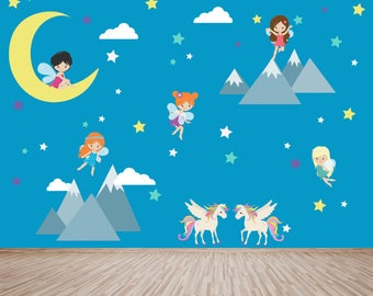 Fairy Decal, Unicorn Decal, Mountain Decal, Ecofriendly No Toxins No PVCs Decals, WD710