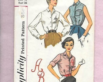 """Vintage 1957 Simplicity 2195 MAD MEN Blouse with Monogram Transfers Size 14 Bust 36"""""""