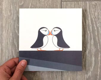 """Pack of 5 - 6"""" Square Puffin Greeting Cards with Recycled Kraft Envelopes"""