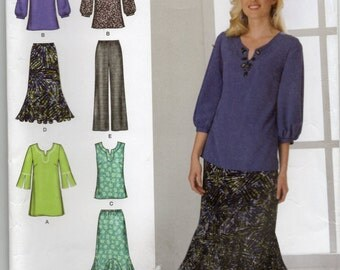 Pants Skirt And Tunic Or Top Sleeveless Long Sleeves Size 10 12 14 16 18 Blouse Or Shirt Sewing Pattern 2008 Simplicity 2737 Plus Size