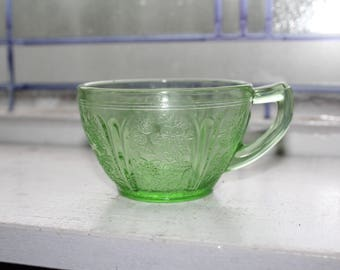 Green Depression Glass Cup Cherry Blossom Vintage 1930s