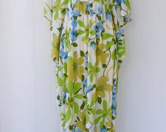 60's Flower Power Hawaiian Dress Watteau Caftan Butterfly Wing Sleeve Floral Maxi Full Length Lounge Gown Beach Coverup One Size