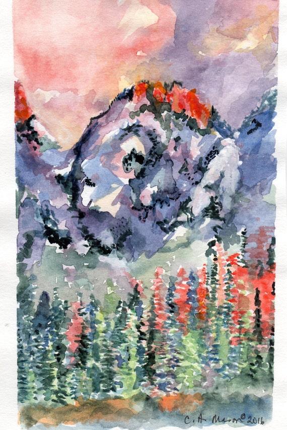 Scarlet Peak Original Painting by C.A. Mason
