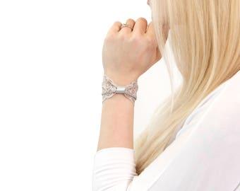 Silver Bow Bracelet, Lace Wrist Cuff Bracelet Beauty Gift Clothing Gift for Her Lace Bow Bracelet Sparkle Bracelet Wrist Tattoo Cover Up